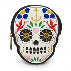 Loungefly Sugar Skull With Flowers Die Cut Coinbag Wallet - Purple Leopard Boutique
