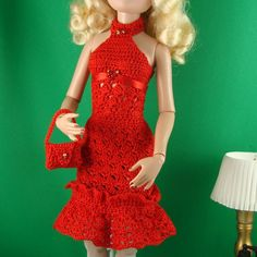 crocheted dress for 16 inch fashion dolls by pixiediva on Etsy