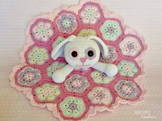 Smartapple Creations - amigurumi and crochet: Crochet bunny lovey blanket with african flower motifs
