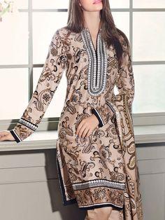 Buy Beige Printed Pali Salwar Kameez by GulAhmed 2015 www.pakrobe.com  Call:(702) 751-3523 Email: Info@PakRobe.com https://www.pakrobe.com/Women/Clothing/Buy-Winter-Salwar-Kameez-Online #WINTER #SALWAR #KAMEEZ