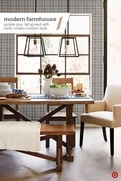 Authentic pieces and simple everyday items add traditionalstyle to your dining room for fall. Easily create this look: start with the table as the focal point. Pair a woodenfarmhouse-style bench and dining chairs with a couple upholsteredchairs for added comfort and character. For the centerpiece, add a nod to fall with a ceramic pitcher of flowers or veggies. Hang lightingoverhead that fits the farmhouse feel without overpowering the room, andfinish things off with a simple table…