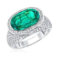 18k Gold Ring with 1.33ct TGW Diamonds and Created Emerald Gemstone ($2,710) ❤ liked on Polyvore