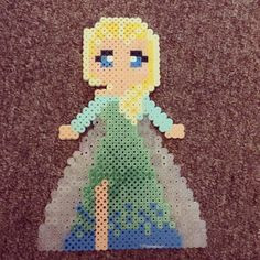 Elsa Frozen perler beads by silkycoyle