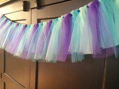 Water Color Shabby Rag Tie Fringe Garland, Bunting, Banner, Swag, Backdrop, Streamer, Photo Prop in Cotton and Tulle on Etsy, $33.00