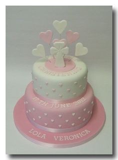Christening or Communion heart cake. Christening Cake Girls, Christening Cakes, Dedication Cake, Rodjendanske Torte, Bolo Minnie, Religious Cakes, Confirmation Cakes, First Communion Cakes, Occasion Cakes