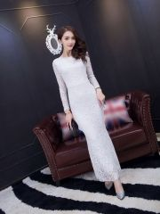 Autumn Ladies Sexy Package Hip Back V-Neck Ankle-length Long Sleeve White Lace Maxi Dress White Lace Maxi Dress, Wholesale Clothing, Ankle Length, V Neck, Autumn, Chic, Lady, Long Sleeve, Clothes