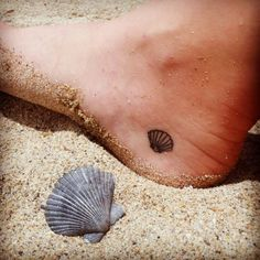 Small Shell Tattoo, love the placement