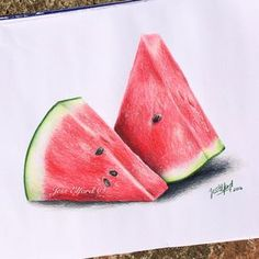 Realistic watermelon drawing by Jess Elford. Drawn with prismacolor pencils