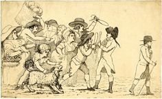 a crowd of men and women gesticulating with inflated condoms towards two gentlemen, one of whom walks off to right; a young boy and a dog in the foreground. Young Boys, British Museum, Satire, 18th Century, Gentleman, Vintage World Maps, Romance, Walks, Cartoon