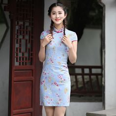 New Arrival Chinese Traditional Cheongsam Dress Women Cotton Linen Short Mini  Qipao Mandarin Collar Dress S M L XL XXL 2612  Affiliate 65ff88497fd1