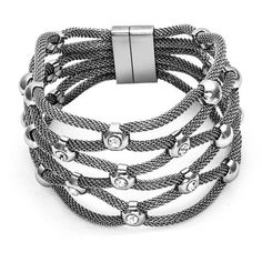 Pearlyta Sterling Silver Multi-strand Nylon Mesh Cuff Fashion Bracelet ($69) ❤ liked on Polyvore featuring jewelry, bracelets, silver, sterling silver cuff bangle, bracelets bangle, sterling silver bracelet bangle, sparkle jewelry and hinged bangle