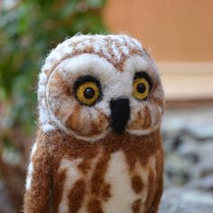 Mr. Northern Saw Whet Owl, needle felted bird fiber art sculpture by TCMfeltDesigns on Etsy https://www.etsy.com/ca/listing/60529376/mr-northern-saw-whet-owl-needle-felted