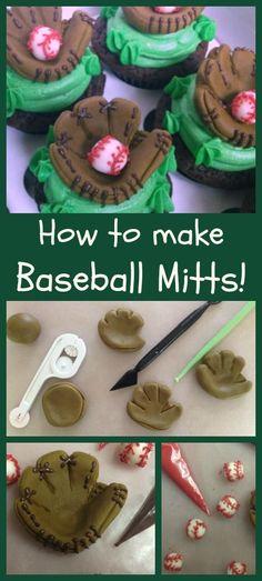 Baseball Mitts- fun ways to use Fondant here. Baseball Treats, Baseball Cupcakes, Baseball Clothes, Baseball Anime, Baby Baseball, Baseball Girlfriend, Baseball Jackets, Baseball League, Fondant Toppers