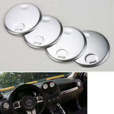 4pcs/set Dashboard Console Instrument AC Air Vent Outlet Cover Trim Round Decoration Fits for Jeep 2010-2016 Compass Patriot