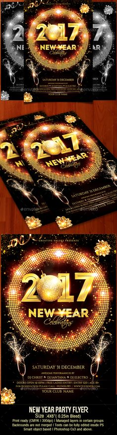 2017 New Year Party Flyer Template PSD #nye #celebrationflyer #newyearbash
