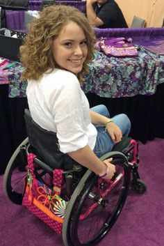 The Classic Espresso Flower Shower bag is the perfect compliment to the pink in this beautiful young woman's chair! Transport Wheelchair, Wheelchair Accessories, Disabled People, Flower Shower, Rose Buds, Lady, Beautiful Women, Wheelchairs, Classic