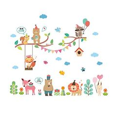$12.99  - FKUO DIY Creative home decor wall sticker Cartoon animal Fox lion wall art home decoration accessories 83x70cm ** More info could be found at the image url. (This is an affiliate link) #WallStickersMurals