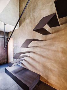 Floating metal stairs and concrete walls. Geometric abstract minimal interior architecture and design Architecture Design, Cabinet D Architecture, Amazing Architecture, Loft Design, House Design, Exterior Design, Interior And Exterior, Escalier Design, Futuristic Interior
