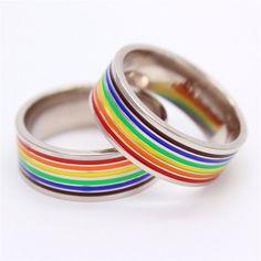 Rainbow Gay Pride Band Ring