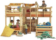 Play Bunk Beds for Large Families from Woodland .....wonder if Kevin could build me one of these?