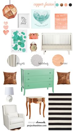 Copper, coral and mint nursery inspiration via Project Bambino Girl Nursery Colors, Mint Nursery, Baby Room Colors, Nursery Design, Nursery Room, Turquoise Room, Deco Kids, Big Girl Rooms, Baby Rooms