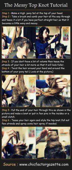 Hair Tutorial: Messy Top Bun (technique where you make a loop and pull the end through)