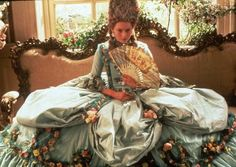 Orlando - Tilda Swinton as the protagonist, wearing an elaborate 18th-century baby blue dress, embellished with garlands of silk flowers.  The costumes were designed by Sandy Powell and Dien van Straalen.