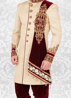 Groom dress for wedding Normally, it's believed ladies are more conscious, worried and careful about their big day dress choices. Sherwani For Men Wedding, Wedding Dresses Men Indian, Sherwani Groom, Indian Wedding Wear, Wedding Dress Men, Wedding Suits, African Shirts For Men, African Dresses Men, African Clothing For Men