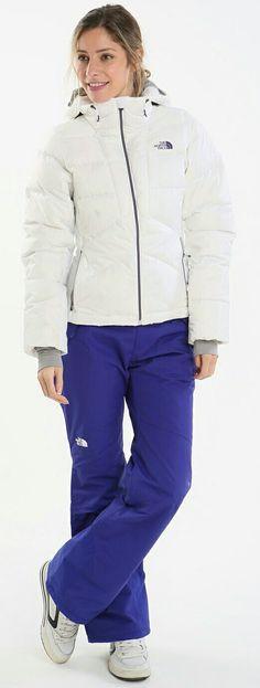 Women's THE NORTH FACE White Puffer Ski Jacket & Iris Purple Ski Pants.