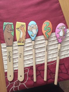 The Gruffalo Story Spoons. I made them this afternoon and I'm quite pleased with… Shark Activities, Nursery Activities, Music Activities, Activities For Kids, Gruffalo Party, Early Years Classroom, Classroom Fun, First Birthday Parties, Ideas
