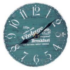'Vintage Breakfast' 15cm Wooden Rustic Style Home Blue Wall Clock