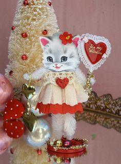 Vintage Inspired SuGaR SwEeT Valentine Kitty by saturdayfinds