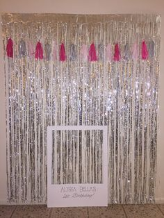 First birthday Photo backdrop. Polaroid frame and diy tassel banner