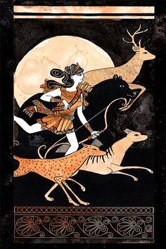 Artemis Goddess of the Hunt   8x12 print by Dancingheron on Etsy, $10.00
