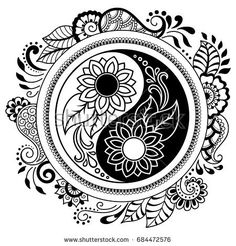 Circular pattern in form of mandala for Henna, Mehndi, tattoo, decoration. Decorative ornament in oriental style with Yin-yang hand drawn symbol. Coloring book page. Mandala Art, Mandalas Drawing, Mandala Coloring Pages, Adult Coloring Pages, Coloring Books, Colouring, Yin Yang Tattoos, Tatuajes Yin Yang, Estilo Mehndi