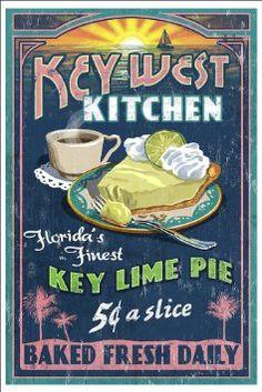 Key West, Florida - Key Lime Pie Vintage Sign (12x18 Art Print, Wall
