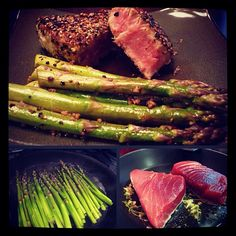 "Seared black pepper tuna steaks with asparagus! Who said healthy wasn't tasty? BFM  1 tsp ground coriander 1/2 tsp paprika 1/4 tsp cayenne pepper 4 (6-oz) Ahi steaks, about 1 1/2"" thick (ask for ""sear"" or ""sushi"" grade if cooking medium rare) 4 tbsp fresh coarsely ground black pepper 2 tbsp vegetable oil 1 lemon, quartered Preparation:  In a small bowl, combine the salt, coriander, paprika, and cayenne pepper. Lay the tuna steaks out on a plate, and sprinkle the spice mixture evenly on both…"