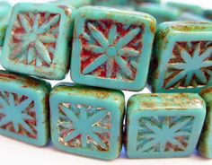30 Czech Glass Square Beads in Opaque Green Turquoise by alohabead, $16.98