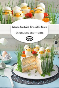 Pikante Sandwich-Torte mit Ei-Küken Savory Sandwich Pie with Egg Chick: Easter bread cake with savory cream cheese creams and stuffed eggs as chicks Festival Tee Sandwiches, Gourmet Sandwiches, Finger Sandwiches, Healthy Sandwiches, Sandwiches For Lunch, Sandwich Recipes, Egg Recipes, Brunch Recipes, Sandwich Torte