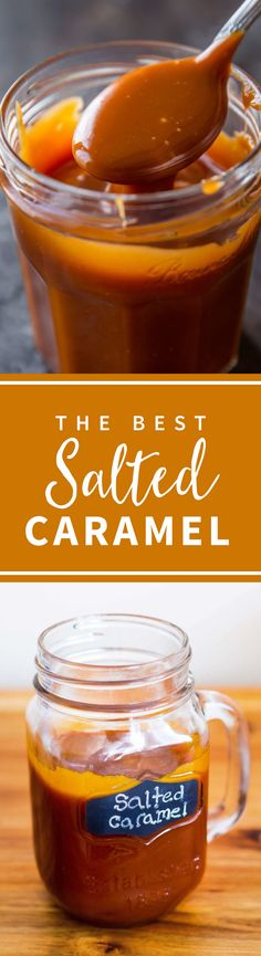 4 ingredient 5 minute EASY salted caramel!!! The best caramel sauce! Recipe on sallysbakingaddiction.com