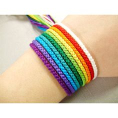 Nine-Color Rainbow Bracelet Set - Ten Bracelets Total (23 CAD) ❤ liked on Polyvore featuring jewelry, bracelets, cuff bangle, heart friendship bracelet, heart jewelry, metal bangles and knot bangle