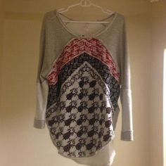 Free People Oversized Sweater sweatshirt material, amazing pattern!!  Like new, fits anyone from S-L, is actually an XS but runs way bigger. Free People Tops Sweatshirts & Hoodies