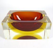 Murano Glas Aschenbecher / Blockascher 60er 70er Jahre Design Glass Ashtray