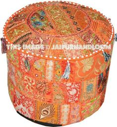 #indianpouf #patchworkpouf #pouf #ottoman #ikeapouf #footstool #chair #floorcushion #embroideredpouf #handmadepouf #pouffe #outdoorfurniture #patiofurniture Round Tufted Ottoman, Ottoman Footstool, Tapestry Bedding, Wall Tapestries, Ikea Pouf, Bean Bag Bed, Stool Chair, Valances, Decorate Your Room