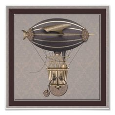 The Airship Penny Farthing Fantasy Flying Machine by GrayceGallery