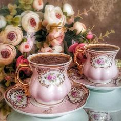 Pink tea cup and saucer set Coffee Break, Morning Coffee, Tea Cup Saucer, Tea Cups, Cocoa Tea, Turkish Coffee Cups, Chocolate Caliente, Coffee Is Life, Coffee Lovers