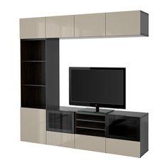 BESTÅ TV storage combination/glass doors, black-brown, Selsviken high gloss/beige clear glass black-brown/Selsviken high gloss/beige clear glass drawer runner, soft-closing 94 1/2x15 3/4x90 1/2