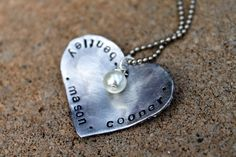 Hand Stamped Jewelry - My Heart Necklace- Customized Necklace- Personalized Mama Jewelry - SALE