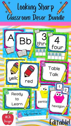 Check out my Looking Sharp Editable Classroom Décor Bundle features all you need to create a fresh new look for your classroom this fall! Check out the preview for a quick look at this colorful theme. My Looking Sharp Classroom Décor Bundle features my ENTIRE pencil collection including several editable features! #teacherspayteachers #tpt #classroommanagement #backtoschool Classroom Board, Classroom Supplies, Classroom Rules, Classroom Posters, Sight Word Wall, Student Information Sheet, Word Wall Headers, Behavior Clip Charts, Class Jobs