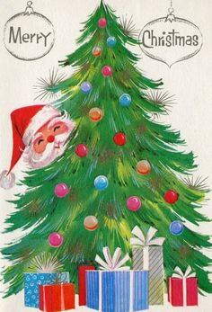 Vintage Greeting Cards Christmas Gifts Santa Tree